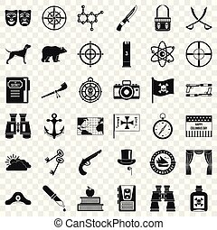 Nature trip icons set, simple style
