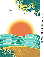 Nature tropical seascape background with sunlight and palms isolated on white...Vector color illustration