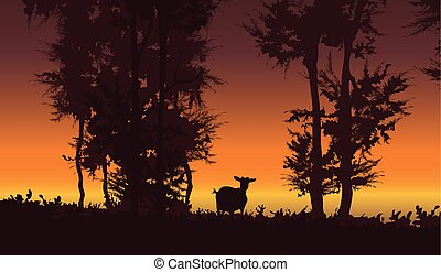 Nature vector background. Forest sunset landscape with goat illustration.
