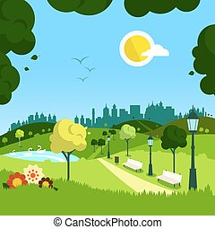Nature. Vector Empty Landscape with City on Background.