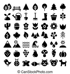 Nature vector icons set, park, outdoors animals, ecology, organic food design - big pack