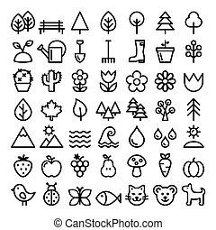Nature vector line icons, minimalist park, animals, ecology, organic food design - big pack