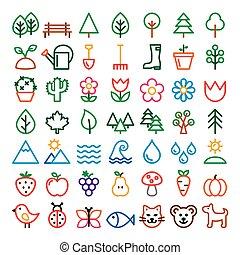 Nature vector line vector icons set, minimalist park, animals, ecology, organic food design - big pack colorful designs