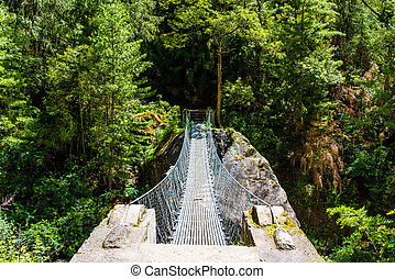Nature view with suspended bridge over river in Annapurna Conservation Area, Nepal