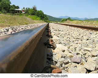 nature., vista, cruce ferrocarril
