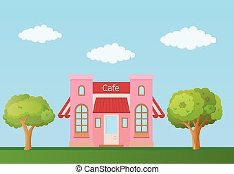 nature, vue, vecteur, fond, devant, café, illustration