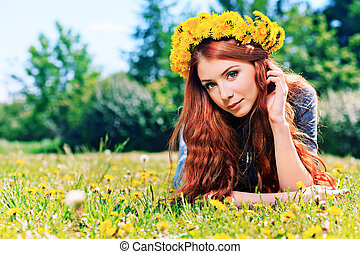 nature weekend - Romantic young woman in a circlet of...