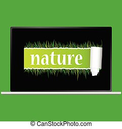 nature with grass vector illustration