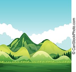Nature with green mountain and blue sky illustration