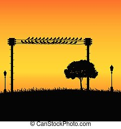 nature with sparrow and street lights color vector illustration
