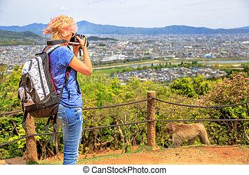 Nature woman photographer