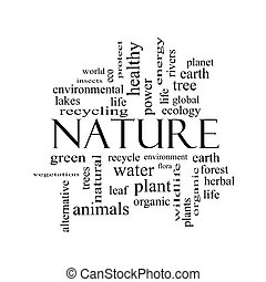 Nature Word Cloud Concept in black and white