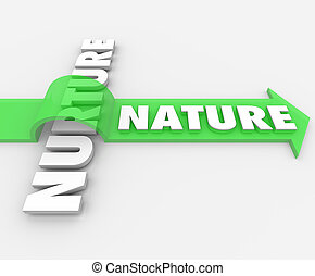 Nature Word Jumping Arrow Over Nurture Genetics Hereditary