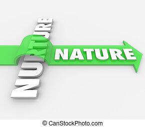 Nature Word Jumping Arrow Over Nurture Genetics Hereditary -...