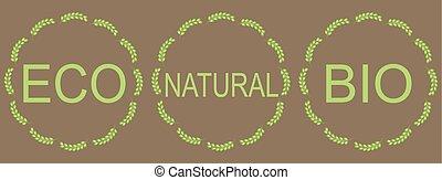 naturel, étiquettes, vert