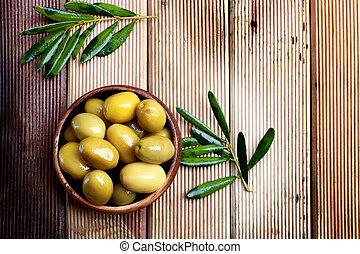 naturel, зеленый, olives