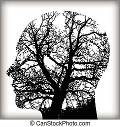 naturel, arbre, homme