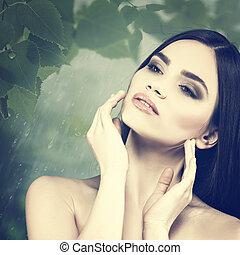 naturel, beauté femelle, sur, fond, portrait