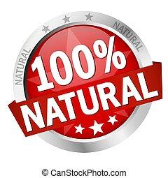 naturel, bouton, 100%, bannière