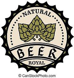 naturel, casquette, royal, bière, conception, bouteille, ou, icône