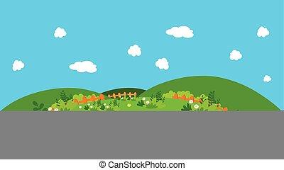 naturel, dessin animé, paysage