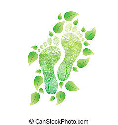 naturel, eco, concept., illustration, pieds, amical