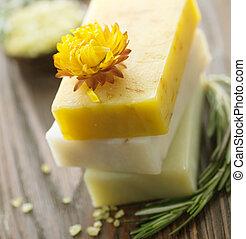 naturel, fait main, soap., spa