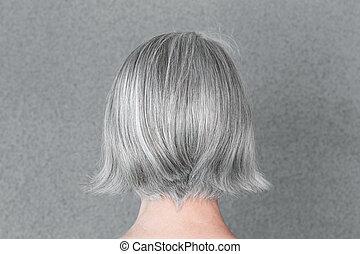 naturel, femme, beau, cheveux, gris