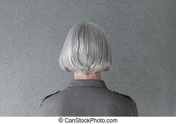 naturel, femme, mûrir, cheveux, gris