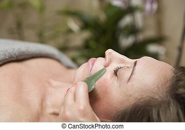 naturel, femme, masage, sha, gua, massager, jade, facial, pierre, avoir