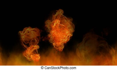 naturel, flammes, brûler, élément, arrière-plan., engendré, informatique, noir, sauvage, animation