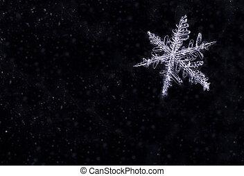 naturel, flocon neige, sur, résumé, fond