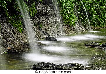 naturel, forêt, chutes d'eau