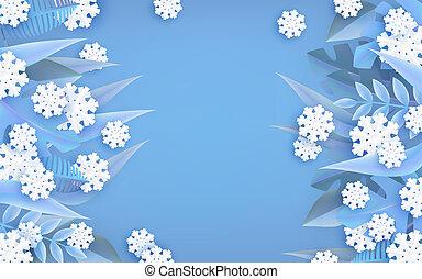 naturel, hiver, bannière, cadre, space., vecteur, illustration, copie, frontière