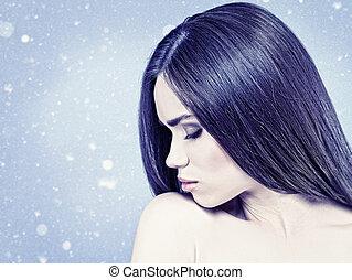 naturel, hiver, beauté, sur, femme, fond, portrait