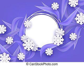 naturel, hiver, snowflakes., feuilles, arbre, illustration, forme, vecteur, fond, vide, bannière, rond