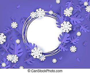 naturel, hiver, snowflakes., feuilles, arbre, illustration, forme, vecteur, vide, bannière, rond