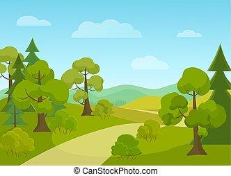 naturel, illustration., arbres., vecteur, route, village, dessin animé, paysage