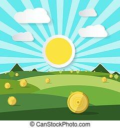 naturel, illustration., soleil, scène, clouds., champ, vecteur, vide
