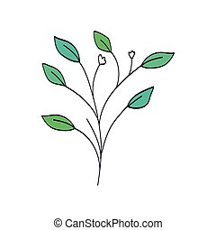 naturel, isolé, branche, icône, pousse feuilles