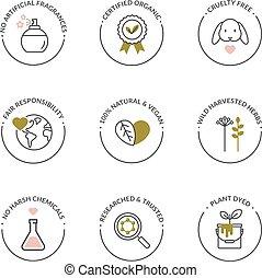 naturel, organique, icônes, produit, skincare