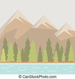 naturel, paysage, à, lac