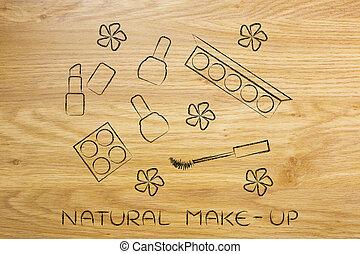 naturel, produits de beauté, produits, organique, maquillage, ensemble, à, fleurs