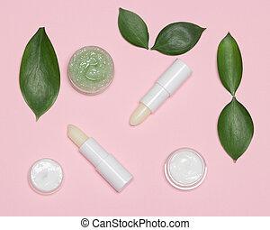 naturel, produits, feuilles, vert, peau, lèvre, soin