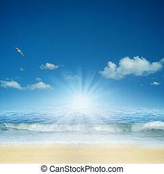 naturel, résumé, Arrière-plans, conception,  océan, ton