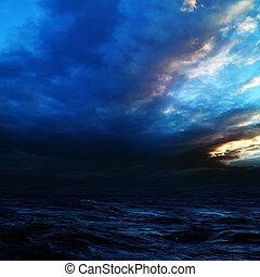 naturel, résumé, arrière-plans, sea., orage, nuit
