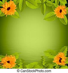 naturel, reflété, eau, arrière-plan vert, fleurs