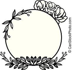 naturel, rose, cadre, couronne, vecteur, conception, gabarit, style.