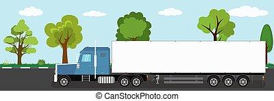 naturel, route, caravane véhicule, camion, paysage, long, fond
