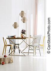 naturel, salle manger, intérieur